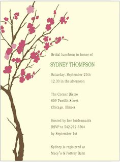 Watercolor Cherry Flowes Tree Bride To Be Invite Cards Invitation Cards, Invite, Bridal Luncheon, Text Color, Bridal Shower Invitations, Flower Decorations, Colorful Backgrounds, Cherry, Baby Shower