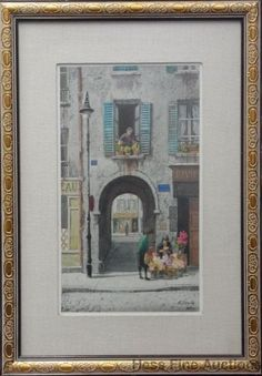 Sweet Vintage Orig Henry Gasser Watercolor Painting French Street Scene 2of2 Wow #Impressionism