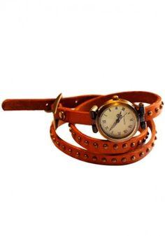 Audrey Wrap Watch Leather Bracelet Camel