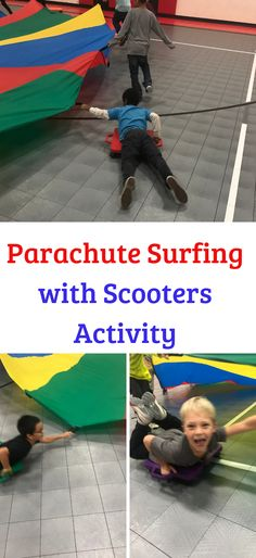 Parachute Surfing Activity with Scooters PE teacher Tanner Roos shares with us his creative idea for Parachute Surfing in PE class! Parachute Games For Kids, Gym Games For Kids, Pe Games, Yoga For Kids, Kid Yoga, Learning Games, Physical Education Activities, Pe Activities, Team Building Activities