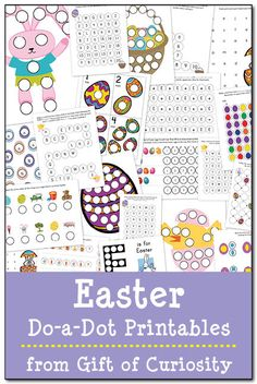Free Easter do-a-dot printables featuring 21 pages of Easter-themed learning focused on colors, shapes, patterns, letters, and numbers.
