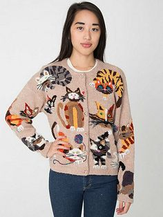 Vintage Fuzzy Cat Novelty Cardigan Sweater | American Apparel