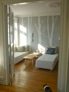 Living Room  Birch tree wall stencil (also possible with light pink walls :D