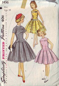 simplicity 1496 vintage 50s children's dress by vintagevice