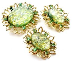 Vintage Dragon Breath Brooch Earrings Set Green Foiled Art Glass Gold Clip Pin #Unbranded