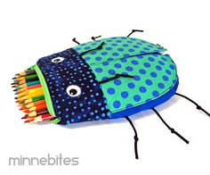 Beetle Pencil Bag by MinneBites / Handmade Easter Toy Bag for Boys - Green Zipper Pouch - Pencil Case - Fun School Supplies - Toddler Bag