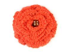 Brooch - Crochet Orange Flower Orange Things, Orange Flowers, Beanie, Brooch, Crochet, Hats, Fashion, Moda, Hat