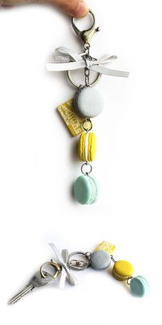Charming Frozen Moonlight french macaron keychains / macaroon flavors : blueberry, lemon and mint / accessories design & handmade by La Nostalgie #winter #fashion #trending Giftsunder35