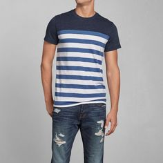 Mens Colorblock Stripe Tee