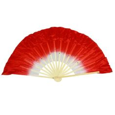 Beige Bamboo Ribs Flutter Fabric Chinese Folk Dancing Hand Fan Red White Item# 6775 - Click image twice for more info - See a larger selection of folding fan at http://www.zbestsellers.com/level.php?node=146&title=asian-folding-fans - woman, accessories, folding fan, woman fashion. asian fan