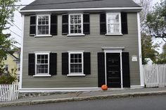 olive grey with black shutters