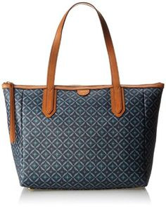 shoulder bags: Fossil Sydney Shopper Travel Tote,Blue Multi,One Size Shopper Tote, Tote Bag, Sydney, New Blue, Travel Tote, Material Girls, Season Colors, Tote Handbags, Totes