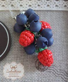 Blueberry Necklace Summer Berries Рolymer clay by ZakolkinoCom