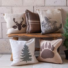 Burlap Throw Pillows, Rustic Pillows, Decorative Throw Pillows, Brown Throw Pillows, Woodsy Decor, Rustic Cabin Decor, Deer Decor, Mountain House Decor, Mountain Home Decorating