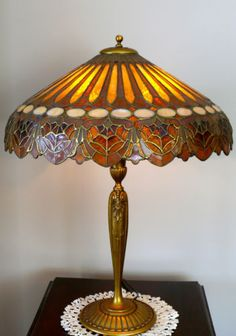 DUFFNER-AND-KIMBERLY-SPIDER-WEB-COLONIAL-MOSIAC-SHADE-ADAMS-BASE-STAINED-GLASS