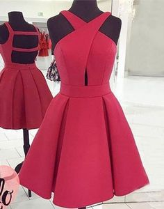 Red crossing neck special high quality short knee-length Prom Dresses