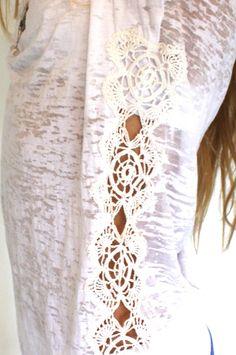 Crochet Applique Burnout Tee - wings hawaii - Jewelry by Samantha Howard for Wings Hawai'i Handmade with Aloha