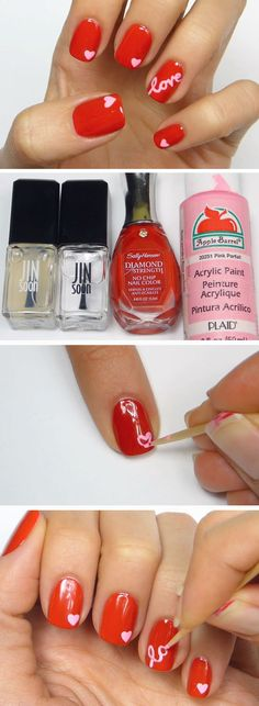 Love   15 Easy Valentines Day Nail Designs for Short Nails   DIY Nail Art Ideas for Spring
