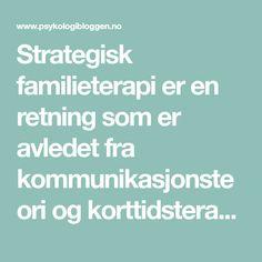 Strategisk familieterapi er en retning som er avledet fra kommunikasjonsteori ogkorttidsterapi. Personer man ser på som viktige innen denne retningen er Bateson, Haley, Erickson, Satir, Madanes, W…