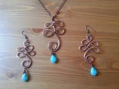 Wire turquoise necklace  Wire turquoise earrings