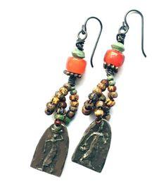 Tribal Jewelry Antique Beads Turquoise Earrings by SheFliesAgain