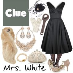 """""""Mrs. White 1 - Clue"""" by b-scottyer on Polyvore I WANT IT ALL. I'm really more a Miss Scarlet, I think, but I'm going for a role and want this intrinsically."""