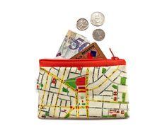 TEL AVIV Map Wallet with orange zipper a souvenir from by efratul, $10.00
