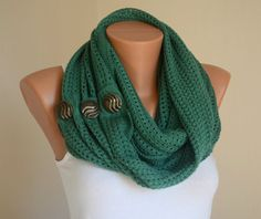 Green knit lace metallic button circle scarf infinity scarf winter scarf neck warmer cowl birthday gifts women's accessory fashion scarves