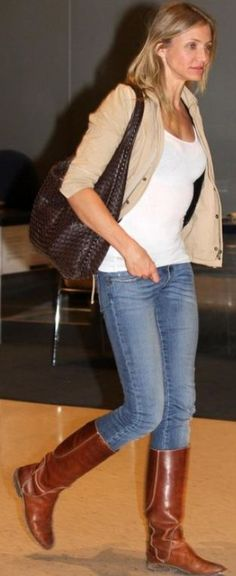 Who made Cameron Diazs skinny jeans and brown woven handbag that she wore at JFK airport?