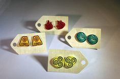 Avatar: The Last Airbender Four Nations Earrings via Etsy. SO MUCH WANT!!!