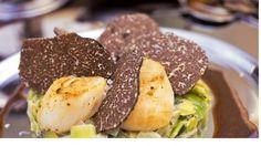 Chez Bruno Noix de saint jacques, fondue de poireaux rapé de Truffes Tuber Melanosporum