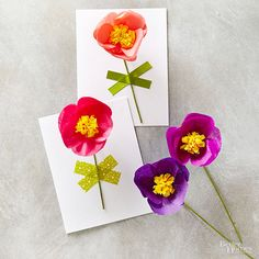 Handmade Valentine's Day Cards. Free Template and tutorial.