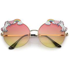 Buy Unicorn Rainbow Semi Rimless Gradient Colored Round Lens Sunglasses - Gold / Orange Yellow - and Largest Selection of Designer Sunglasses at Best Prices. Round Lens Sunglasses, Cute Sunglasses, Indie Festival, Mode Hippie, Unicorn Fashion, Unicorn Jewelry, Unicorn Bedroom, Fashion Eye Glasses, Cute Unicorn