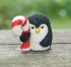 Needle Felted Penguin  Holding Candy Cane by scratchcraft on Etsy