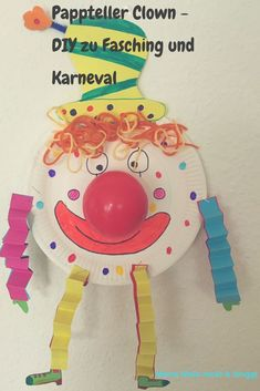 Great Snap Shots Clay Crafts for kids Concepts Pappteller Clown – tolles DIY zu Fasching und Karneval Crafts For Teens To Make, Diy For Teens, Diy For Kids, Kids Crafts, Diy And Crafts, Paper Plate Crafts, Clay Crafts, Paper Plates, Thanksgiving Activities For Kids