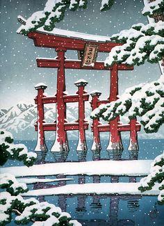Japanese Ukiyo-e: Miyajima in Snow. Hasui Kawase. 1929. (NOTE: alamaaak, eloknya kalau bisa ke sana lagi pas salju begini... tapi, apa kuat ya, awak?)