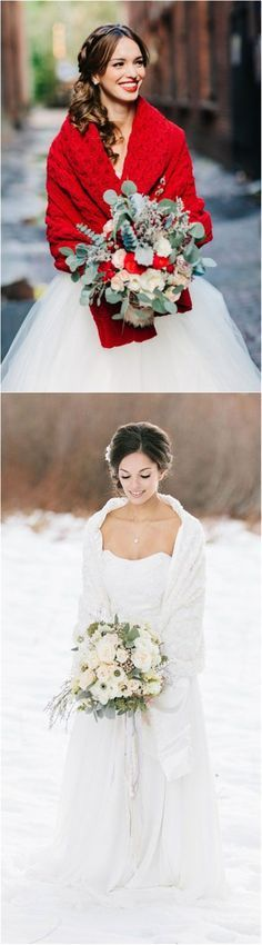 White and Red Christmas Wedding Dresses