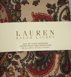 Ralph Lauren New set of 4 Cloth Napkins Bridgette Paisley NWT 20x20 Beige #RalphLauren