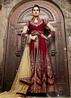 6bef4d6c44 Elegant and Beautiful Velvet straight cut Salwar Kameez style suit designed  to Reflect your Passion 11010