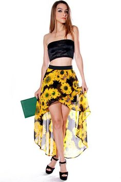 #clubwear21.com #dress #fashion walk on sunshine daisy floral print high low chiffon skirt-$29.00