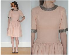 Darling Vintage Pale Peachy Pink Party Dress with Silver Metallic Beaded Collar and Cuffs | Small by AnimalHeadVintage on Etsy