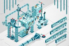 Isometric Machinery Construction Kit by DreamBikeShop on @creativemarket