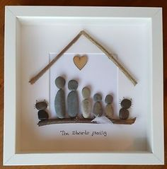 Personalised Photo Picture Box Frame - Pebble Art Family birthday, anniversary
