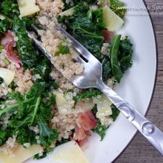 Wilted Kale, Quinoa and Bacon Salad by SumptuousSpoonfuls