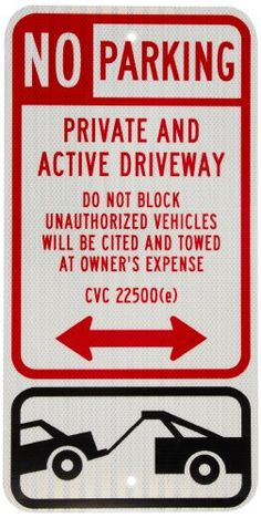 Outdoor Décor-SmartSign 3M High Intensity Grade Reflective Sign Legend No Parking  Private and Active Driveway with Graphic 24 high x 12 wide BlackRed on White ** Find out more about the great product at the image link.