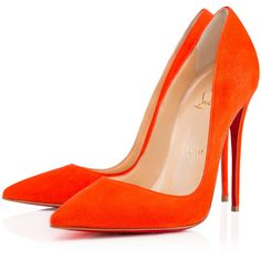 So Kate 120mm Orange Suede ($685) ❤ liked on Polyvore featuring shoes, pumps…
