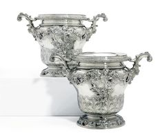 A PAIR OF GEORGE III SILVER WINE-COOLERS AND COLLARS MARK OF ROBERT GARRARD, LONDON, 1814