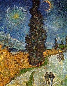 Vincent van Gogh - Landstrasse mit Zypresse und Ste