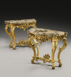 A pair of Italian carved giltwood console tables, Roman mid century each with a veneered africano marble top above a pierced frieze on cabriole legs joined by an x-form stretcher on inward scrolled legs, the whole carved with rocaillle, scrolls and leaves Victorian Style Furniture, Rococo Furniture, Silver Furniture, European Furniture, Italian Furniture, French Furniture, Handmade Furniture, Fine Furniture, Furniture Projects