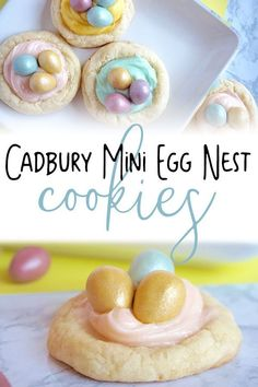 Simple Easter cookie recipe or thumbprint nests with a easy to make cream cheese frosting and finished with Cadbury Mini Eggs. These simple treats are perfect for cooking with kids or easy Easter Party Treats that everyone will enjoy. Mini Egg Recipes, Easter Recipes To Make, Easter Cookie Recipes, Easter Snacks, Easter Dinner Recipes, Holiday Cookie Recipes, Easter Cookies, Holiday Treats, Party Treats